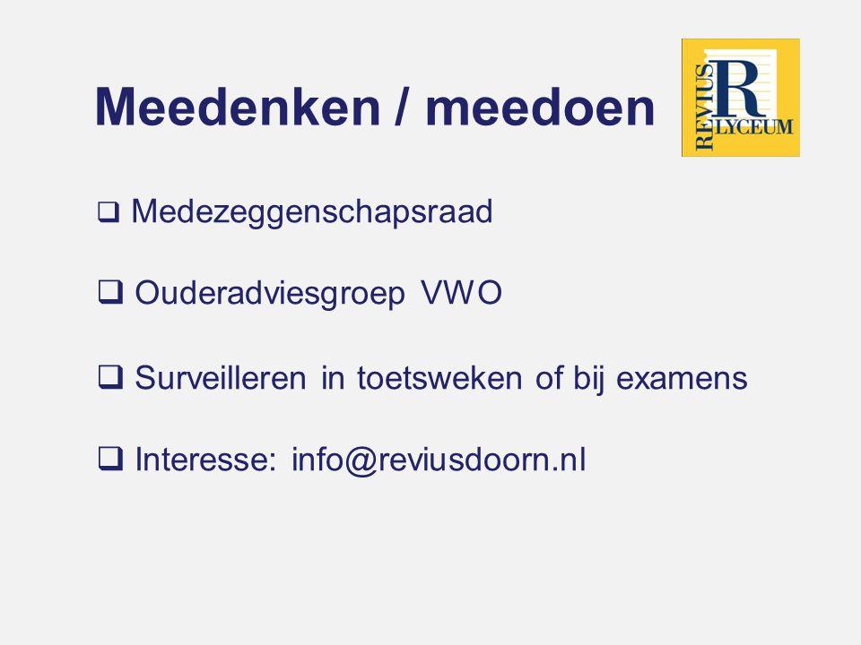 Meedenken / meedoen Ouderadviesgroep VWO