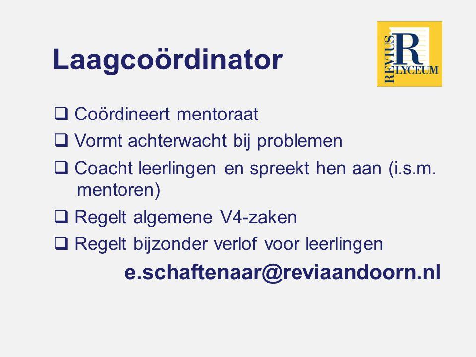 Laagcoördinator e.schaftenaar@reviaandoorn.nl Coördineert mentoraat