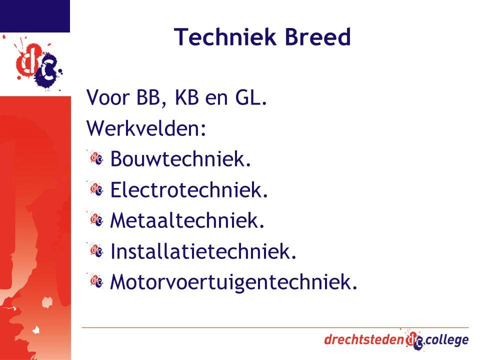 Techniek Breed Voor BB, KB en GL. Werkvelden: Bouwtechniek.
