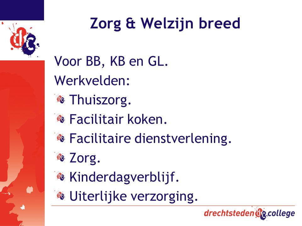 Zorg & Welzijn breed Voor BB, KB en GL. Werkvelden: Thuiszorg.