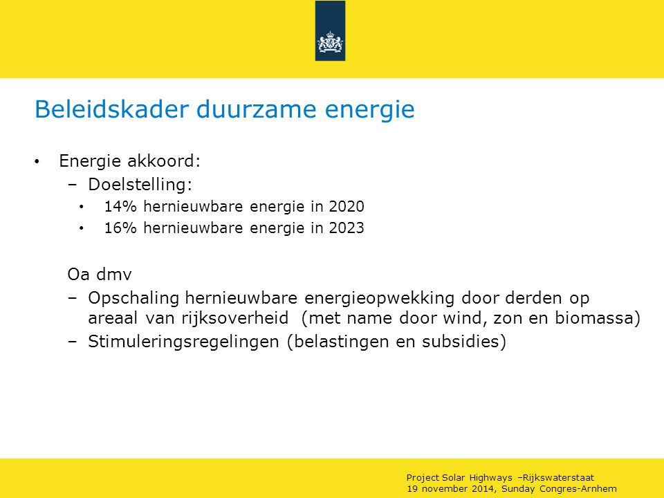 Beleidskader duurzame energie
