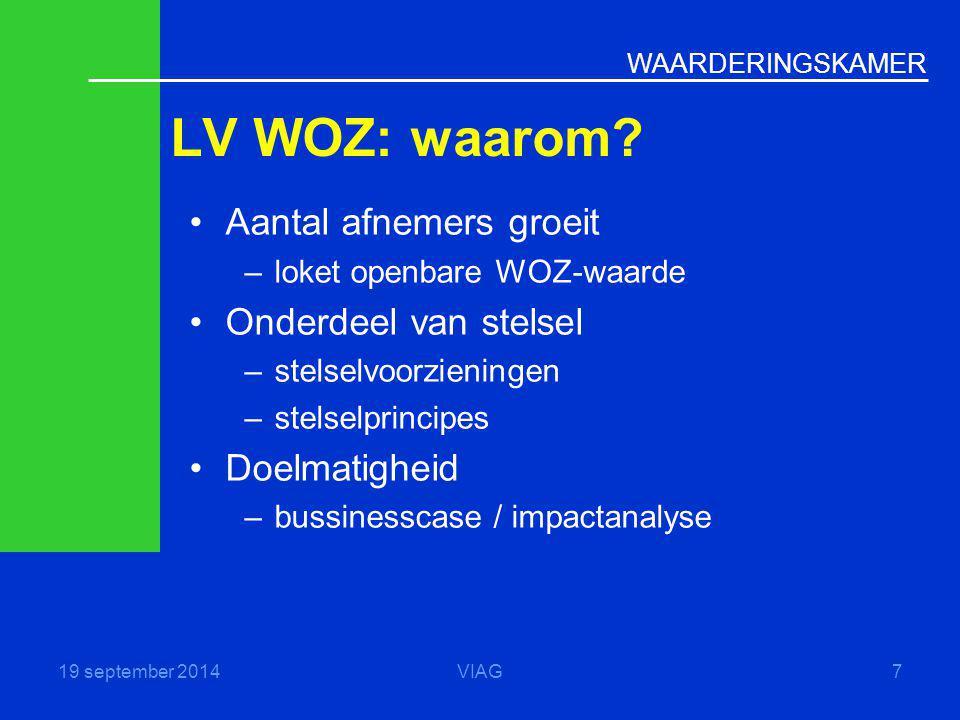 LV WOZ: waarom Aantal afnemers groeit Onderdeel van stelsel