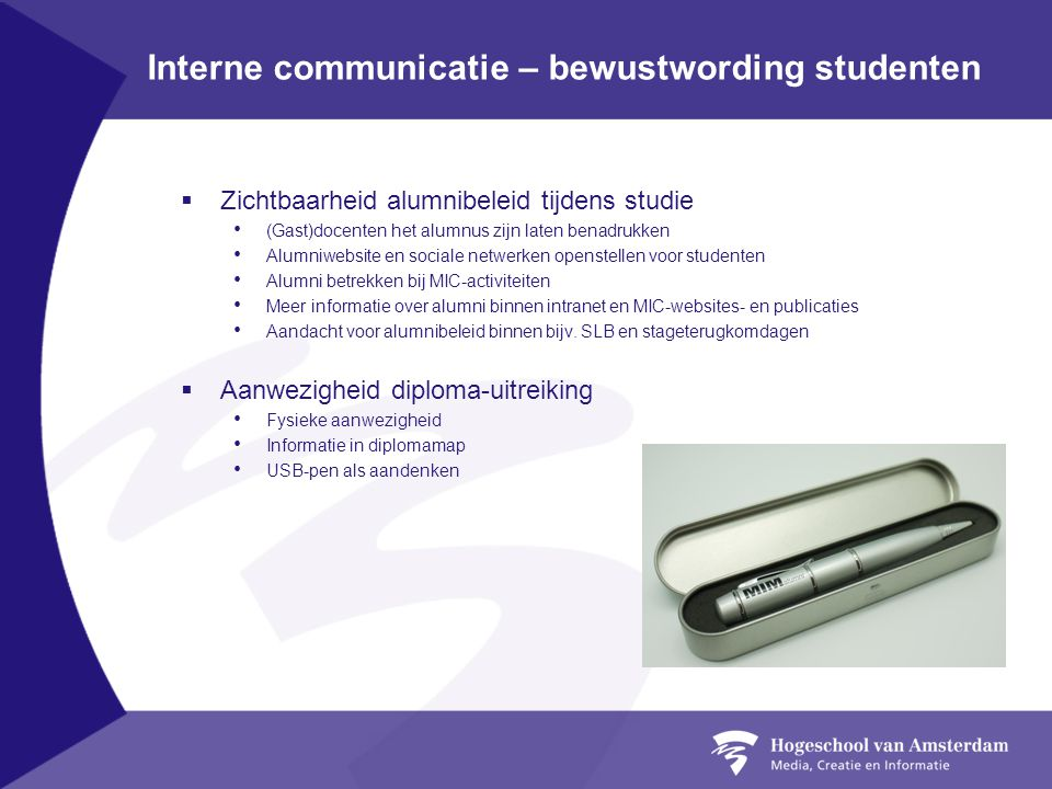 Interne communicatie – bewustwording studenten