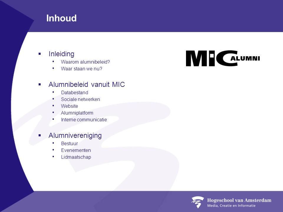 Inhoud Inleiding Alumnibeleid vanuit MIC Alumnivereniging