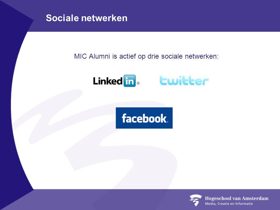 MIC Alumni is actief op drie sociale netwerken: