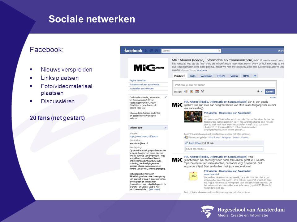 Sociale netwerken Facebook: Nieuws verspreiden Links plaatsen
