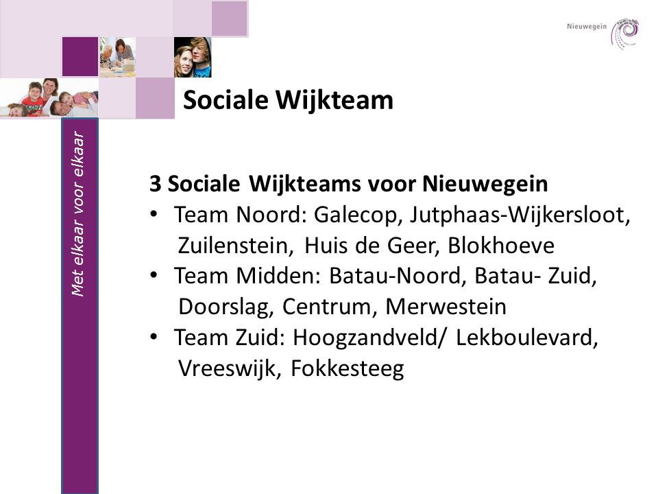 Sociale Wijkteam 3 Sociale Wijkteams voor Nieuwegein