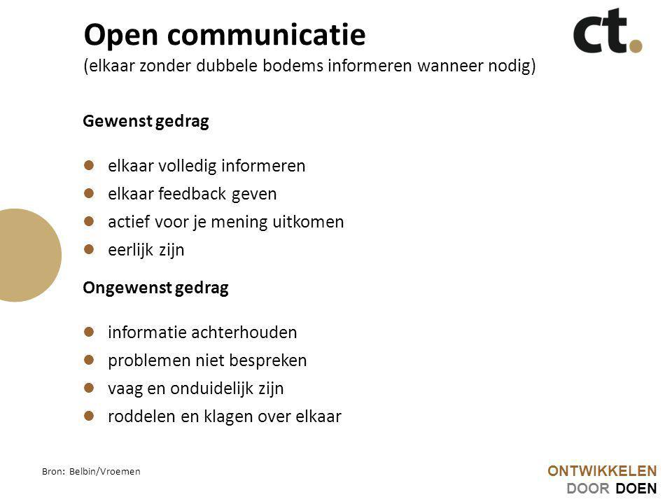 Open communicatie (elkaar zonder dubbele bodems informeren wanneer nodig)