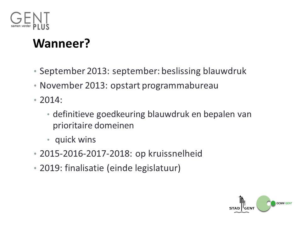 Wanneer September 2013: september: beslissing blauwdruk