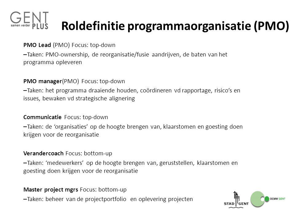 Roldefinitie programmaorganisatie (PMO)