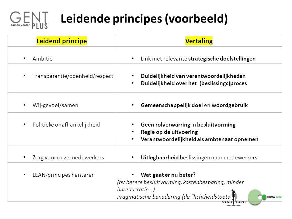 Leidende principes (voorbeeld)