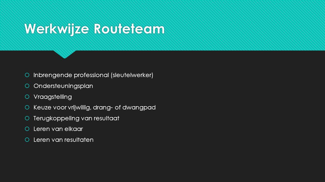 Werkwijze Routeteam Inbrengende professional (sleutelwerker)