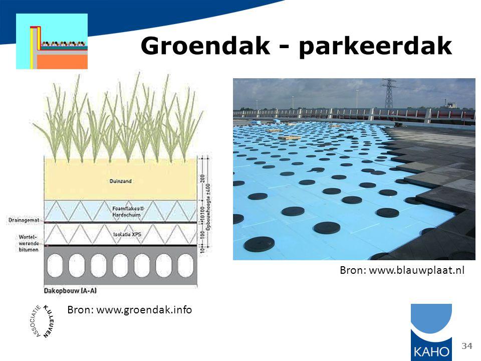 Groendak - parkeerdak Bron: www.blauwplaat.nl Bron: www.groendak.info