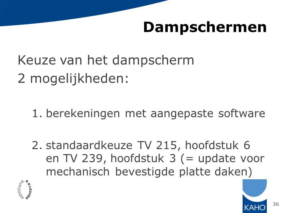 Dampschermen Keuze van het dampscherm 2 mogelijkheden: