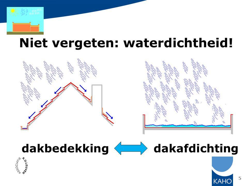 Niet vergeten: waterdichtheid!