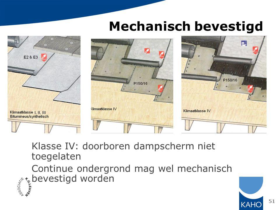 Mechanisch bevestigd Klasse IV: doorboren dampscherm niet toegelaten