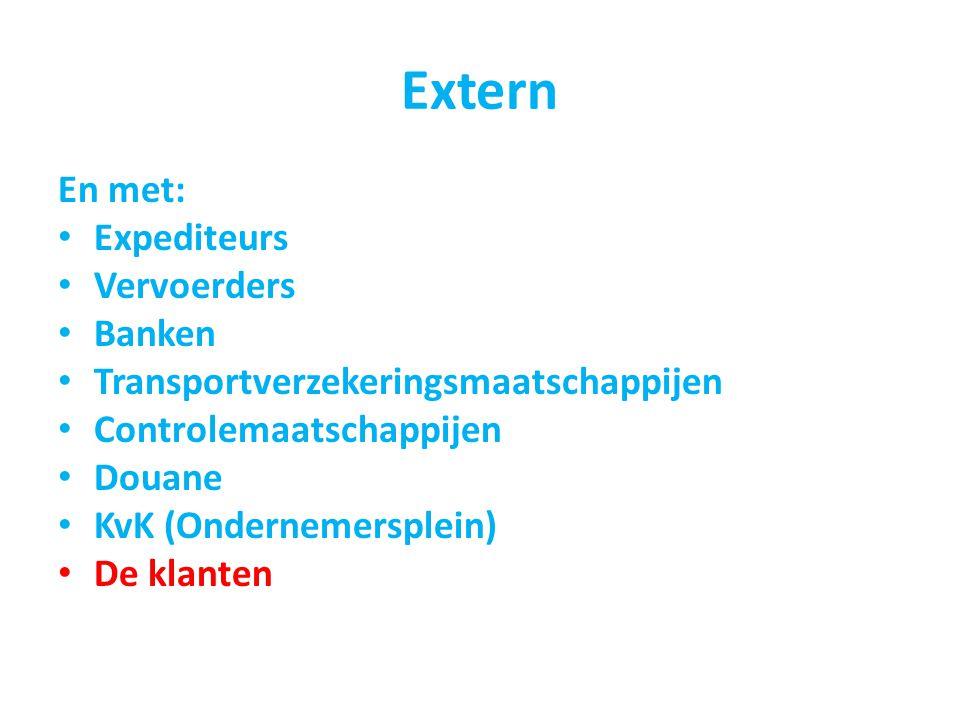 Extern En met: Expediteurs Vervoerders Banken