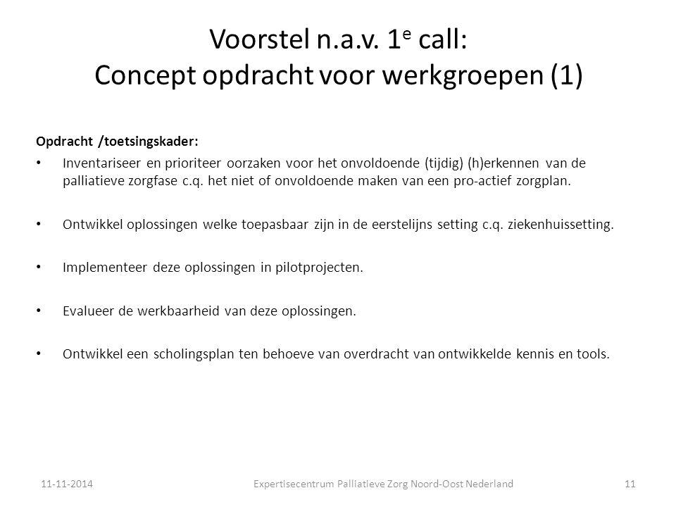 Voorstel n.a.v. 1e call: Concept opdracht voor werkgroepen (1)