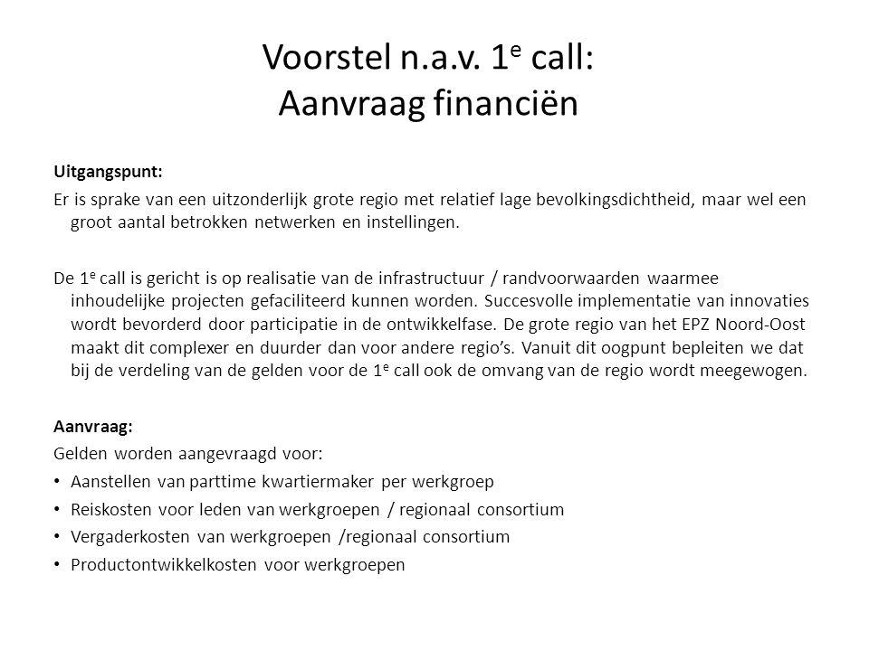 Voorstel n.a.v. 1e call: Aanvraag financiën