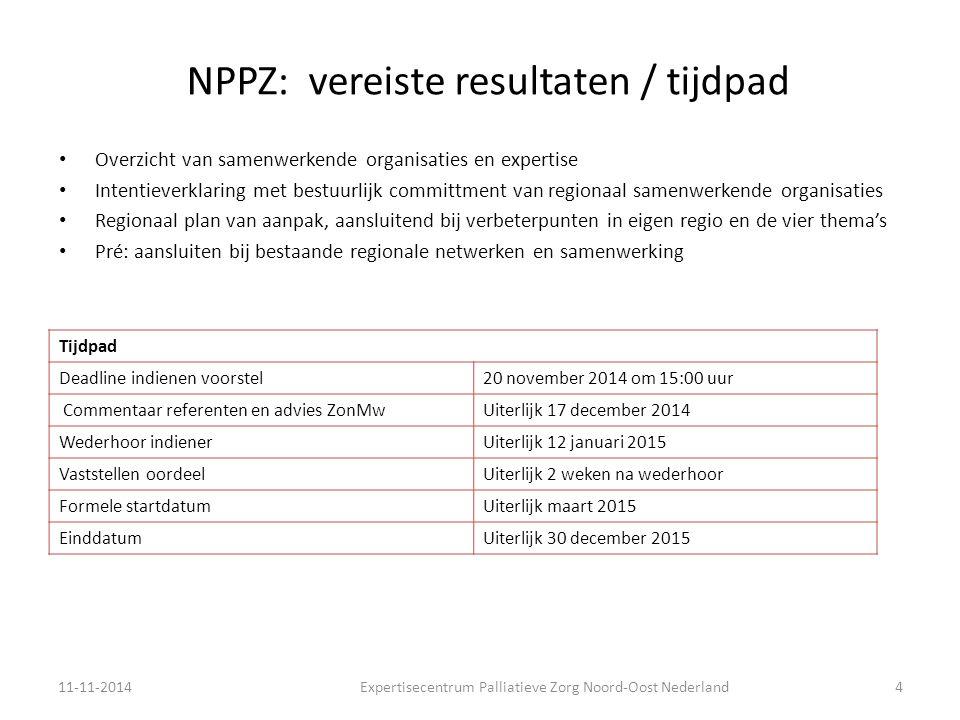 NPPZ: vereiste resultaten / tijdpad