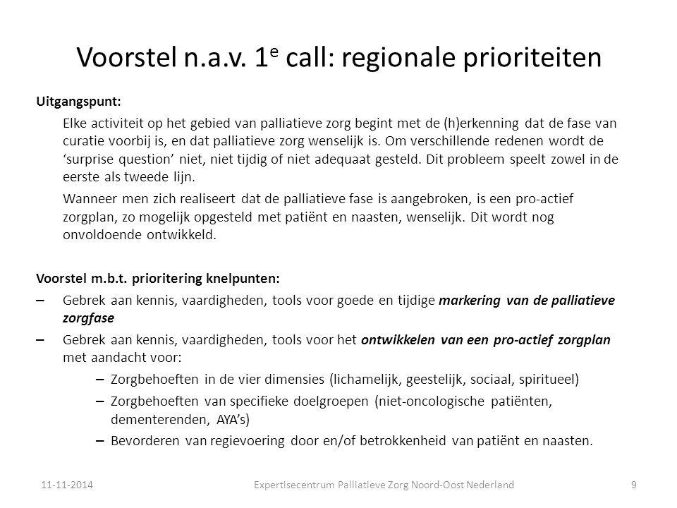 Voorstel n.a.v. 1e call: regionale prioriteiten
