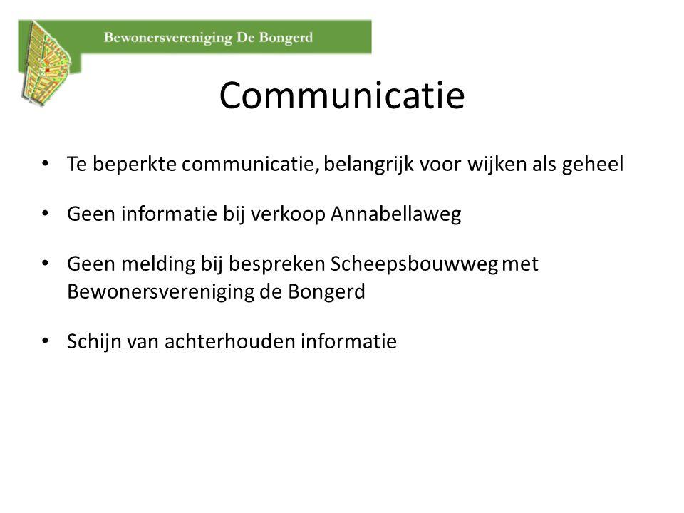 Communicatie Te beperkte communicatie, belangrijk voor wijken als geheel. Geen informatie bij verkoop Annabellaweg.