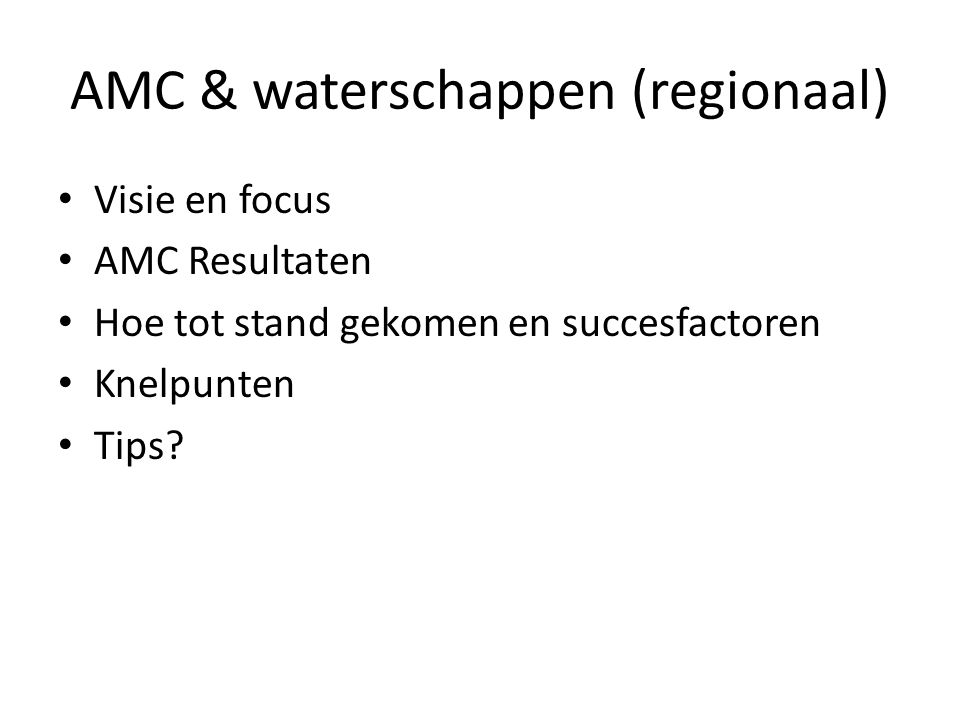 AMC & waterschappen (regionaal)