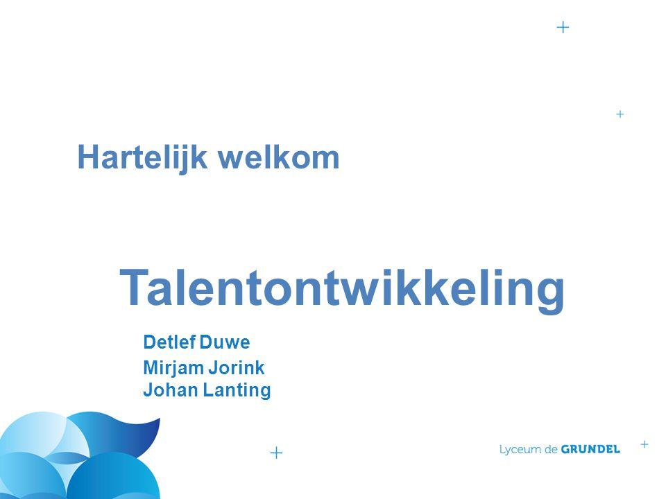 Hartelijk welkom. Talentontwikkeling. Detlef Duwe. Mirjam Jorink