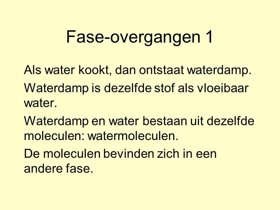 Fase-overgangen 1 Als water kookt, dan ontstaat waterdamp.