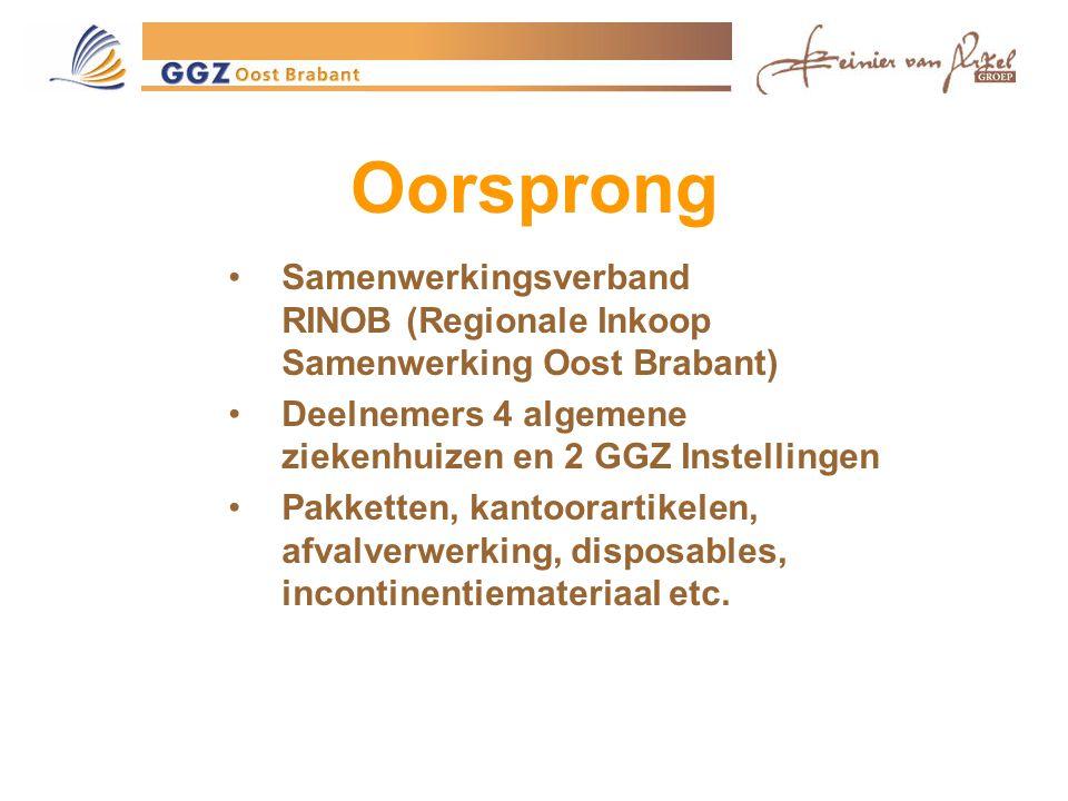 Oorsprong Samenwerkingsverband RINOB (Regionale Inkoop Samenwerking Oost Brabant) Deelnemers 4 algemene ziekenhuizen en 2 GGZ Instellingen.