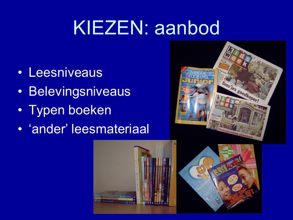 KIEZEN: aanbod Leesniveaus Belevingsniveaus Typen boeken