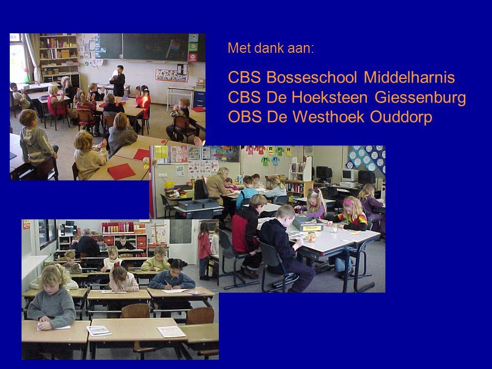 Met dank aan: CBS Bosseschool Middelharnis CBS De Hoeksteen Giessenburg OBS De Westhoek Ouddorp