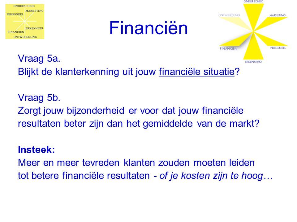 Financiën Vraag 5a. Blijkt de klanterkenning uit jouw financiële situatie Vraag 5b. Zorgt jouw bijzonderheid er voor dat jouw financiële.