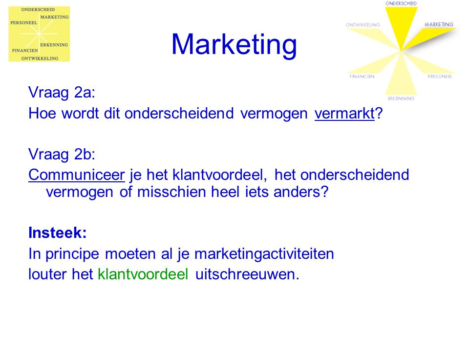 Marketing Vraag 2a: Hoe wordt dit onderscheidend vermogen vermarkt