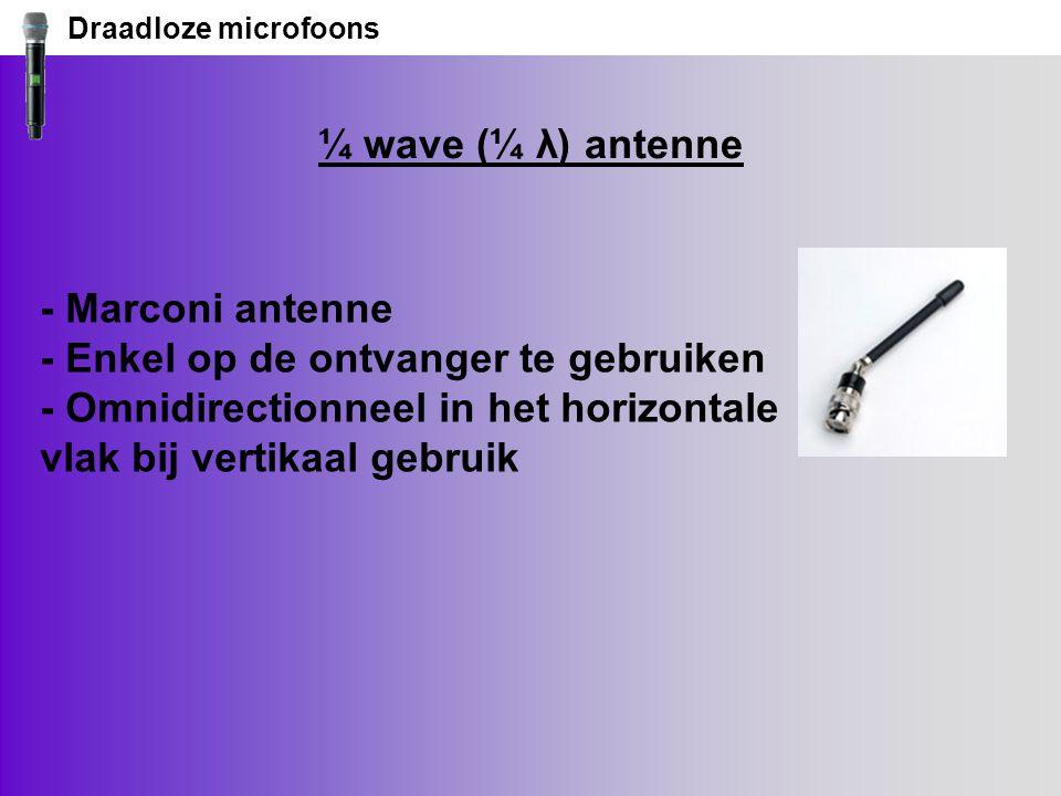 Draadloze microfoons ¼ wave (¼ λ) antenne.
