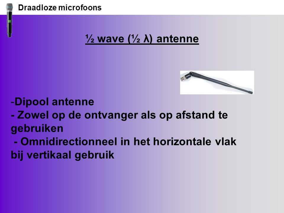 Draadloze microfoons ½ wave (½ λ) antenne.
