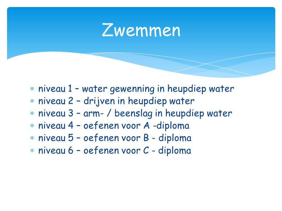 Zwemmen niveau 1 – water gewenning in heupdiep water