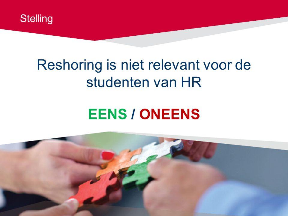 Reshoring is niet relevant voor de studenten van HR EENS / ONEENS