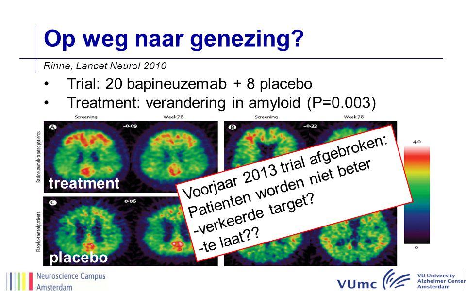 Op weg naar genezing Trial: 20 bapineuzemab + 8 placebo