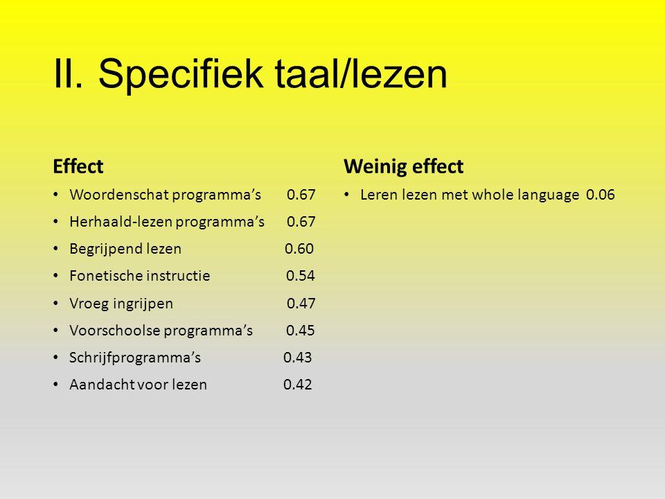 II. Specifiek taal/lezen