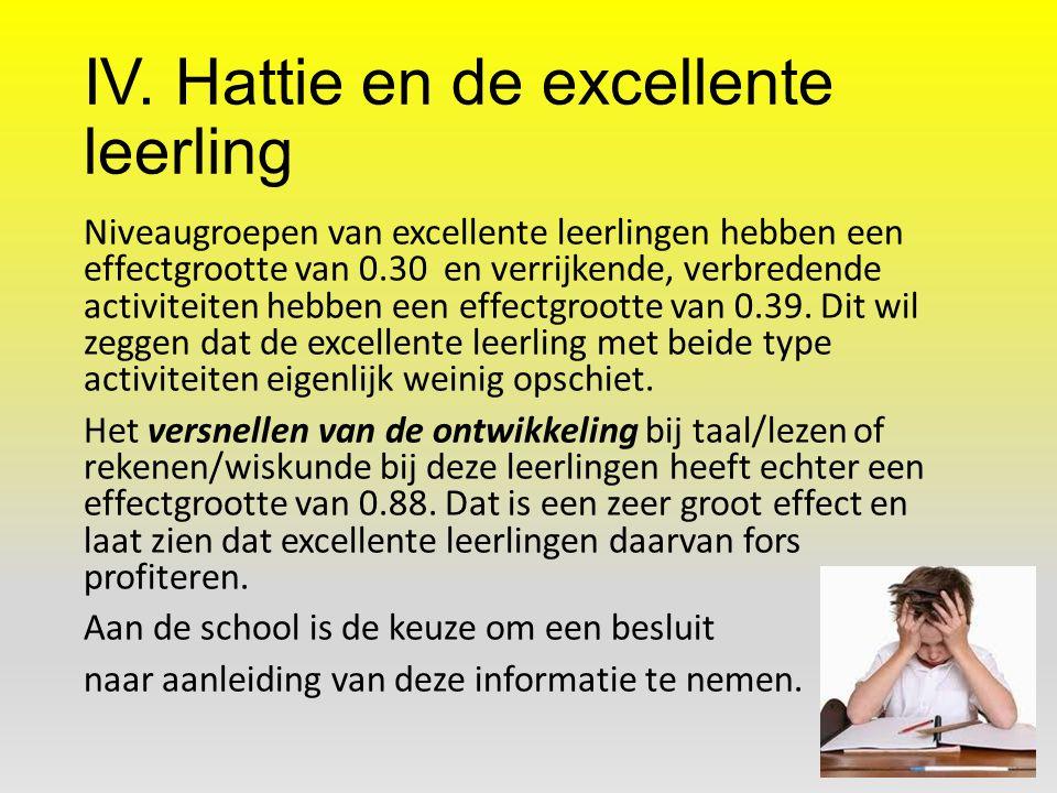 IV. Hattie en de excellente leerling