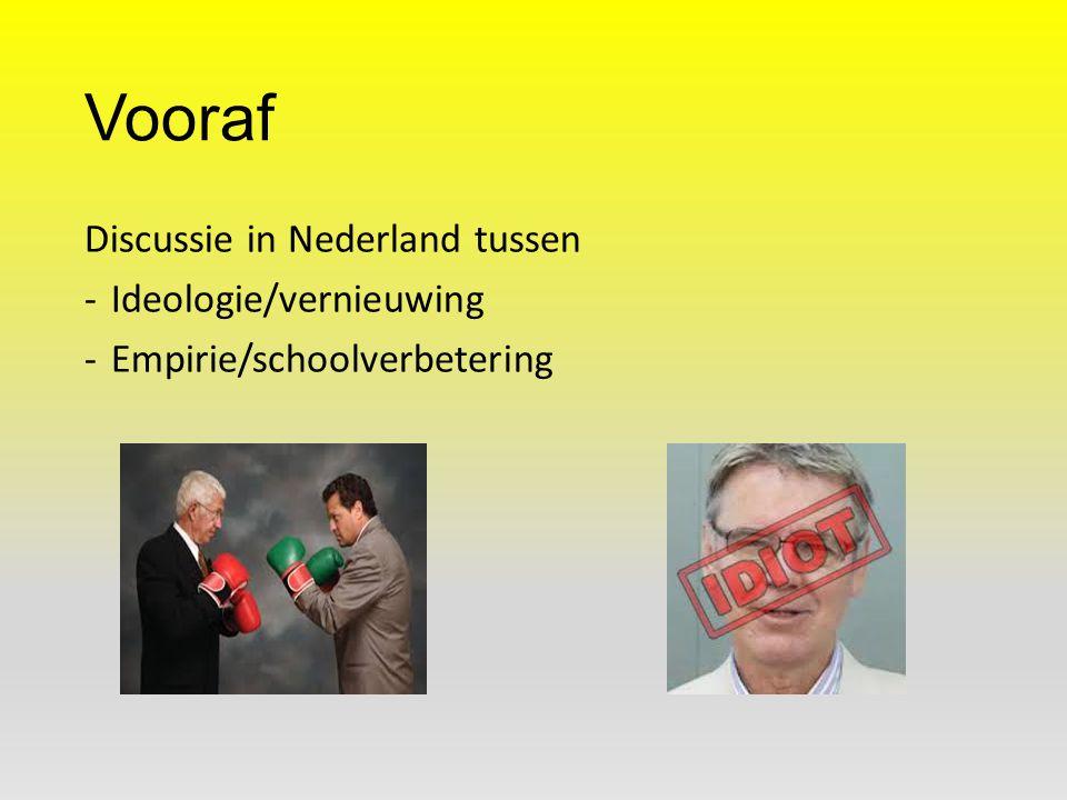Vooraf Discussie in Nederland tussen Ideologie/vernieuwing
