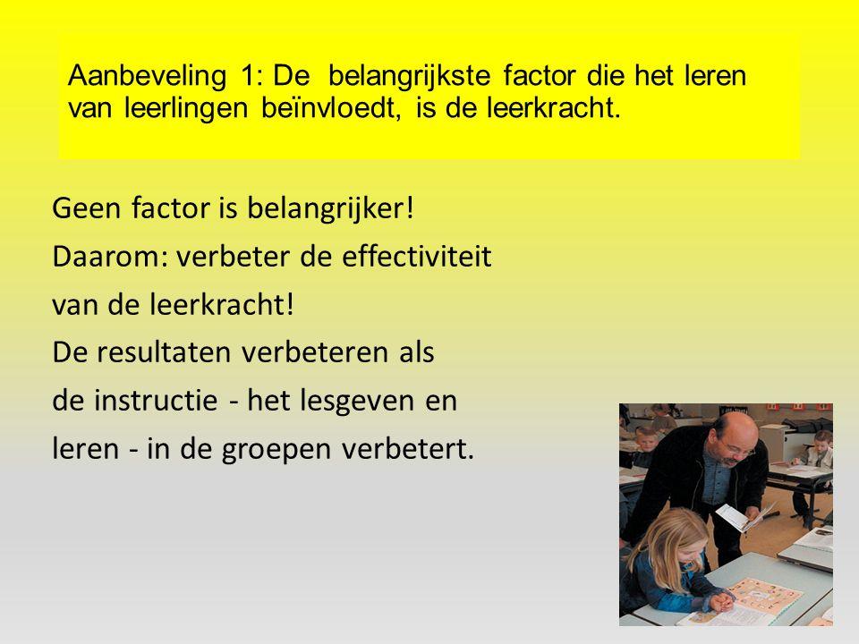 Aanbeveling 1: De belangrijkste factor die het leren van leerlingen beïnvloedt, is de leerkracht.