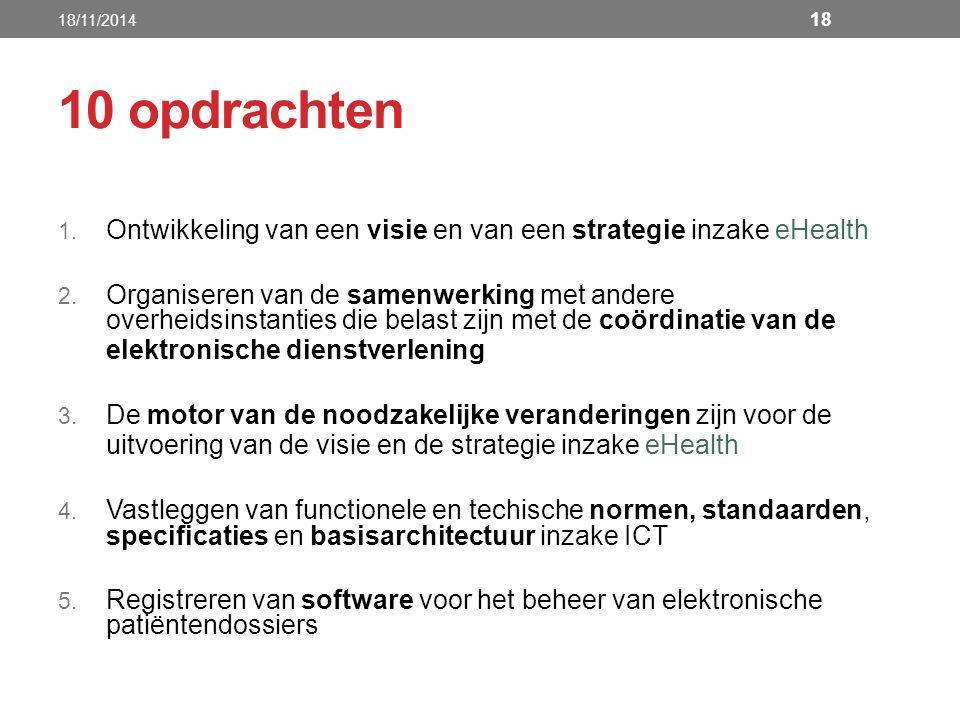 18/11/2014 10 opdrachten. Ontwikkeling van een visie en van een strategie inzake eHealth.