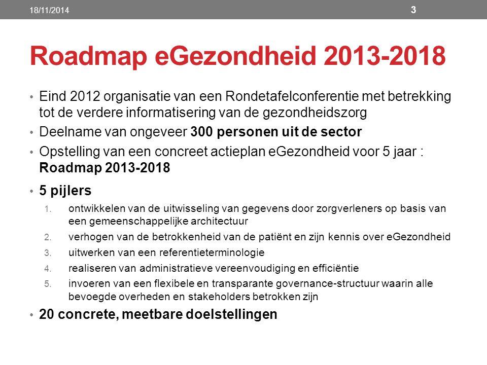 18/11/2014 Roadmap eGezondheid 2013-2018.