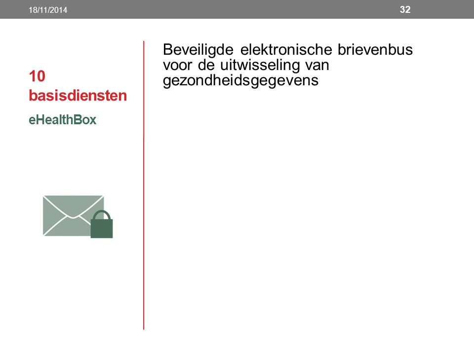 18/11/2014 10 basisdiensten. Beveiligde elektronische brievenbus voor de uitwisseling van gezondheidsgegevens.