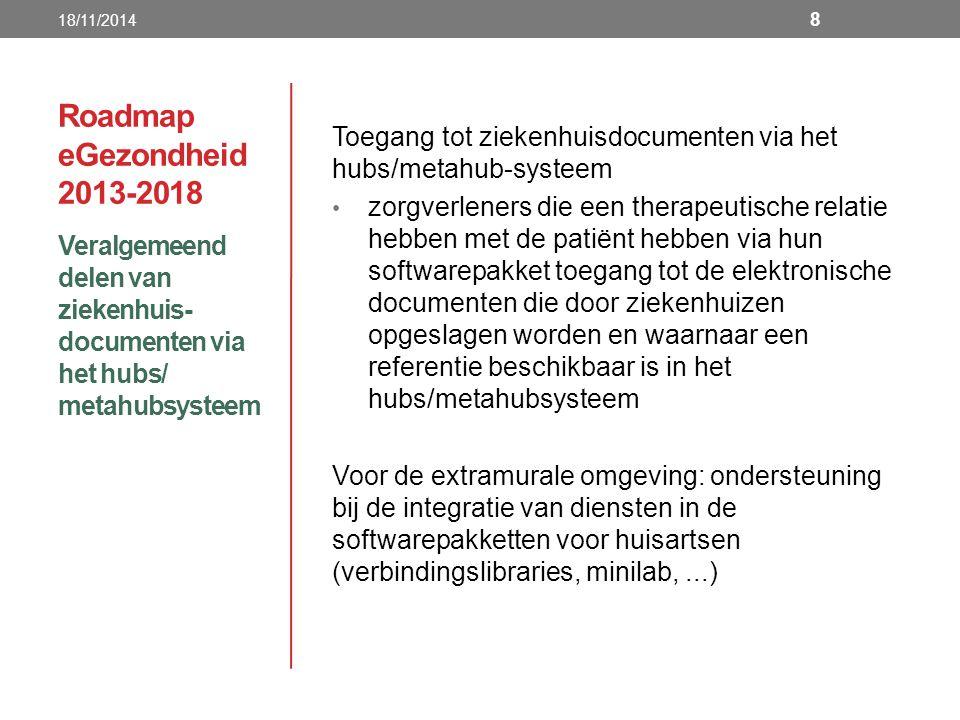 18/11/2014 Roadmap eGezondheid 2013-2018. Toegang tot ziekenhuisdocumenten via het hubs/metahub-systeem.