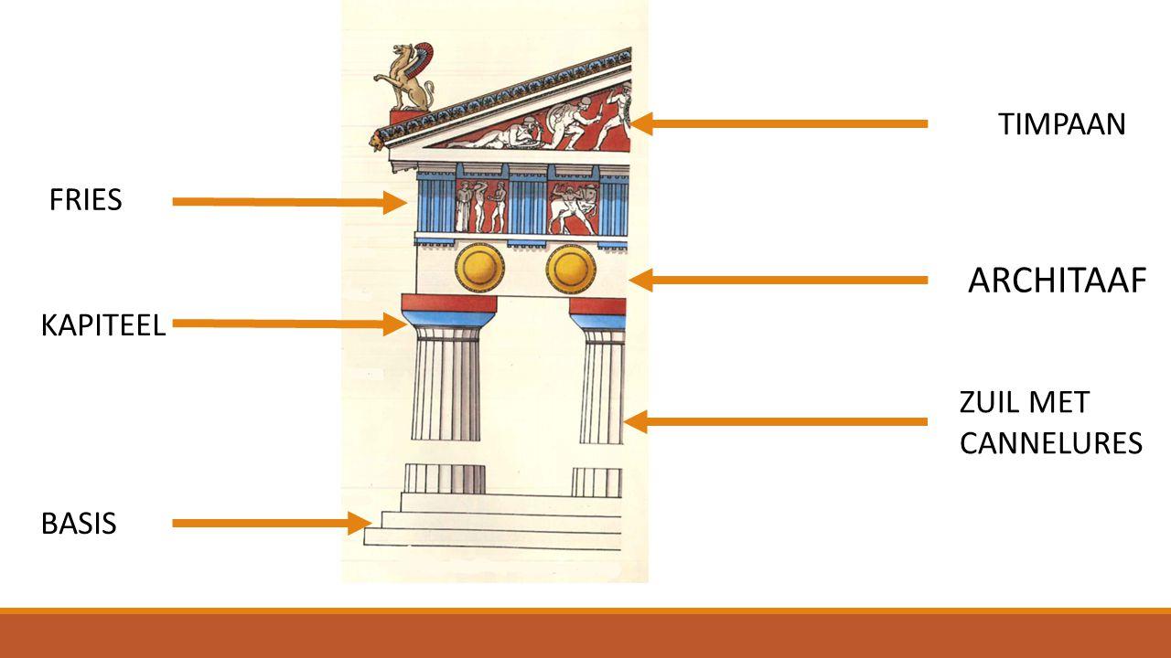 TIMPAAN FRIES ARCHITAAF KAPITEEL ZUIL MET CANNELURES BASIS