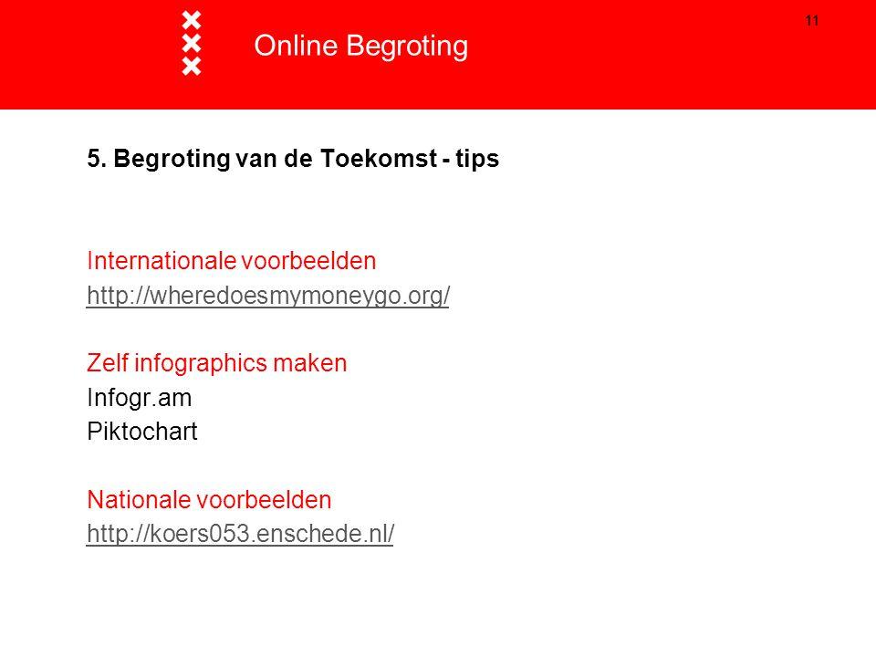 Online Begroting Titel presentatie 5. Begroting van de Toekomst - tips