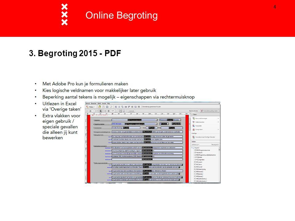 Online Begroting Titel presentatie 3. Begroting 2015 - PDF